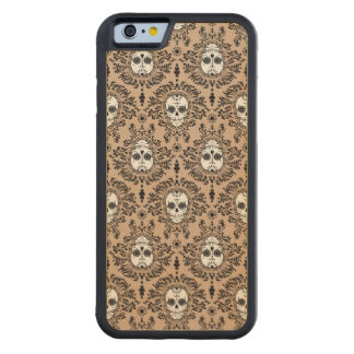 Dead Damask Sugar Skulls Wood Phone Case