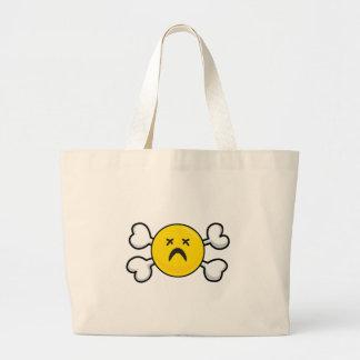 dead depressed smiley Skull and Crossbones Jumbo Tote Bag