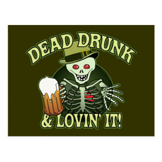 Dead Drunk Skeleton Postcard