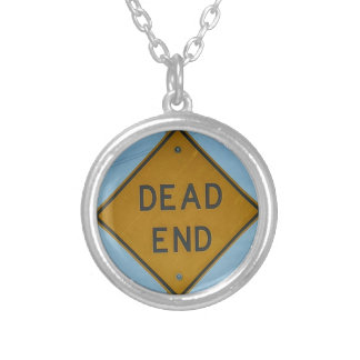 Dead End Sign Round Pendant Necklace