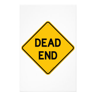 Dead End Sign Custom Stationery