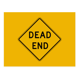 Dead End, Traffic Warning Sign, USA Post Card