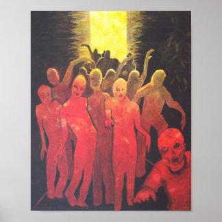 Dead End Zombie Horde Silhouette horror art Poster