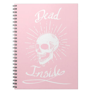 Dead Inside White & Pink NotePad Notebook