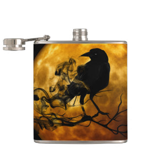 Dead moon crow hip flask