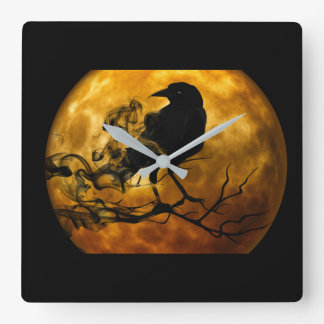 Dead moon crow square wall clock