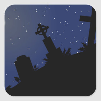 DEAD OF NIGHT! (tombstones - graveyard) ~ Square Sticker