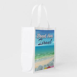 Dead Sea Israel travel poster Reusable Grocery Bag