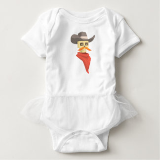 Dead Sheriff Head And Star Pin Drawing Isolated On Baby Bodysuit