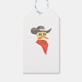 Dead Sheriff Head And Star Pin Drawing Isolated On Gift Tags