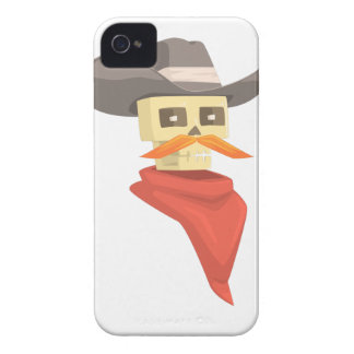 Dead Sheriff Head And Star Pin Drawing Isolated On iPhone 4 Case-Mate Case