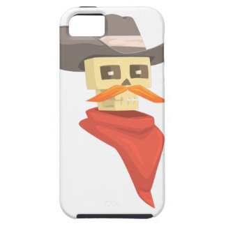 Dead Sheriff Head And Star Pin Drawing Isolated On iPhone 5 Covers