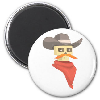 Dead Sheriff Head And Star Pin Drawing Isolated On Magnet