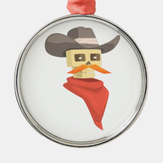 Dead Sheriff Head And Star Pin Drawing Isolated On Metal Ornament