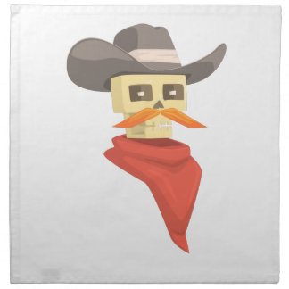 Dead Sheriff Head And Star Pin Drawing Isolated On Napkin