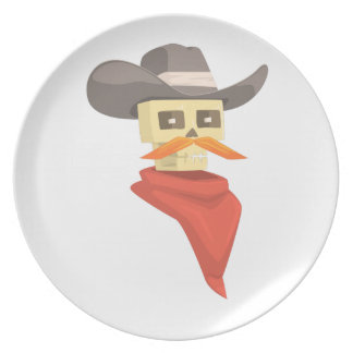 Dead Sheriff Head And Star Pin Drawing Isolated On Plate