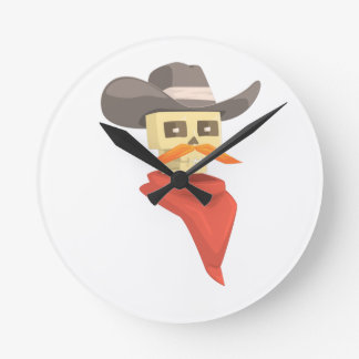 Dead Sheriff Head And Star Pin Drawing Isolated On Round Clock
