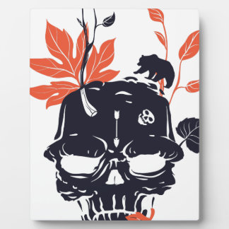 dead skull and bear plaque