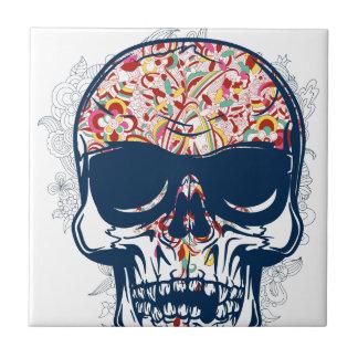 dead skull zombie colored design ceramic tile