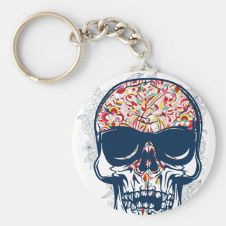 dead skull zombie colored design key ring