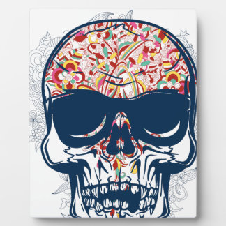 dead skull zombie colored design plaque
