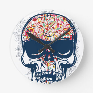 dead skull zombie colored design round clock
