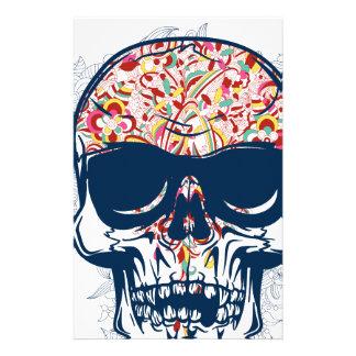 dead skull zombie colored design stationery