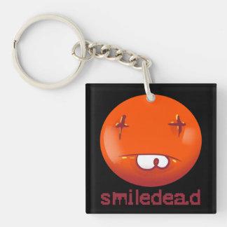 dead smiley face funny cartoon key ring
