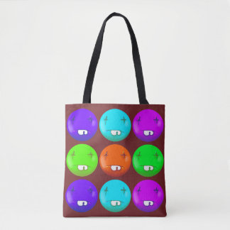 dead smiley face funny cartoon tote bag