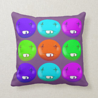 dead smiley face funny handdrawn cartoon cushion