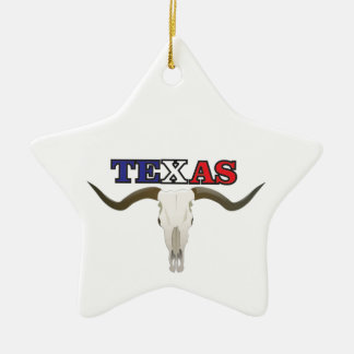 dead texas longhorn ceramic ornament