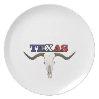 dead texas longhorn plate