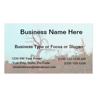 dead tree against green leaves sky teal business card templates
