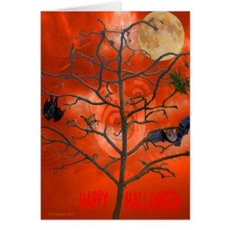 Dead Tree amongst an Orange Scary Sky Card