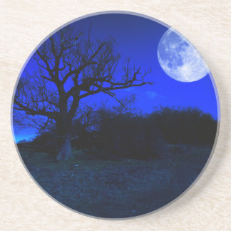 Dead Tree At Midnight With A Glowing Full Moon Drink Coasters