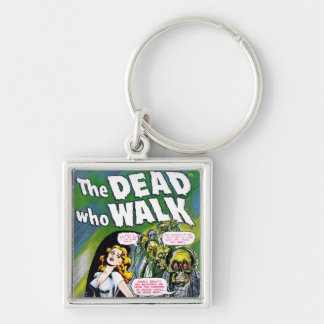 Dead Who Walk - Vintage Zombie Horror Silver-Colored Square Key Ring