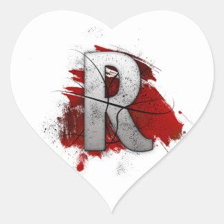 Deadly Design Monogram Letter R Heart Sticker