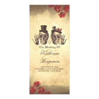 Deadly nice Gothic skull couple wedding programs Rack Card