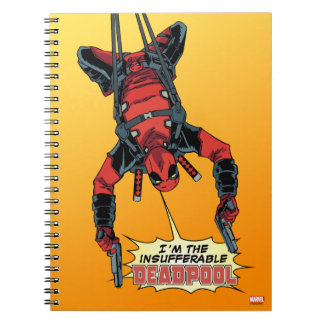 Deadpool Hanging From Harness Spiral Notebook