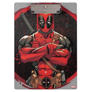 Deadpool in Paint Splatter Logo Clipboard