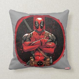 Deadpool in Paint Splatter Logo Cushion