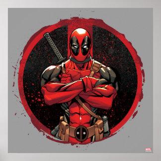 Deadpool in Paint Splatter Logo Poster