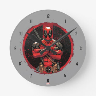 Deadpool in Paint Splatter Logo Round Clock