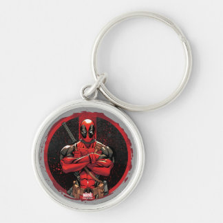 Deadpool in Paint Splatter Logo Silver-Colored Round Key Ring