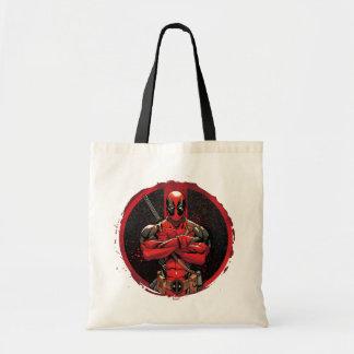 Deadpool in Paint Splatter Logo Tote Bag