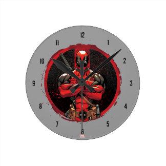 Deadpool in Paint Splatter Logo Wall Clock