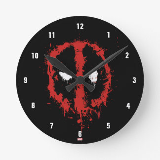 Deadpool Paint Splatter Logo Round Clock