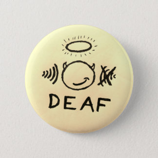 Deaf In One Ear Angel/Devil 6 Cm Round Badge
