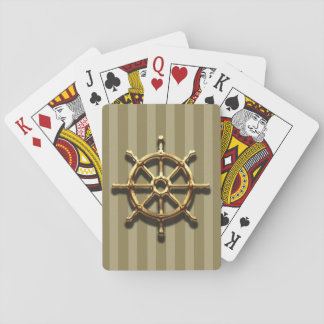 Deal 'em playing cards nautical theme faux gold