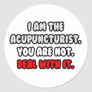 Deal With It ... Funny Acupuncturist Classic Round Sticker